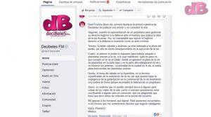 Respuesta del Ex-Alcalde Raúl Roa en la Fanpage de Decibeles Fm