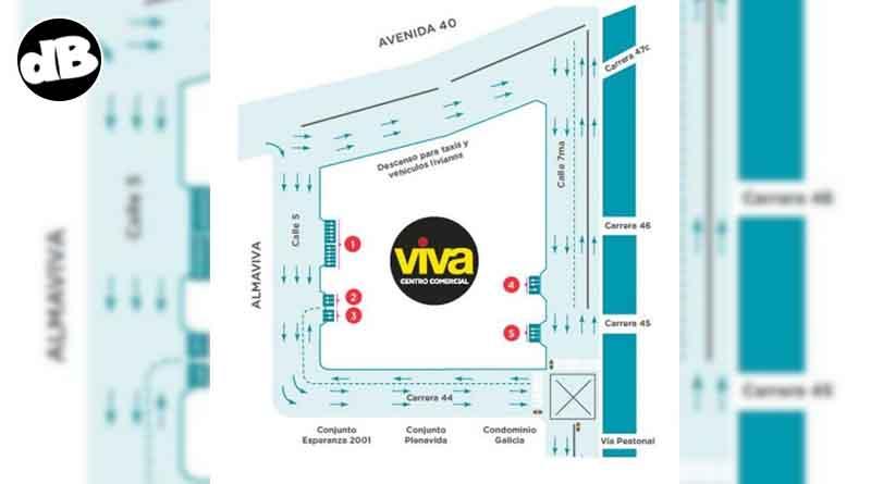 Imagen representativa de la circulación de los vehículos por el Centro Comercial Viva - Villavicencio
