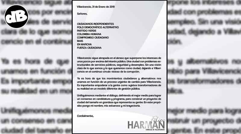 Carta para los partidos independientes elaborada por el Concejal Felipe Harman.