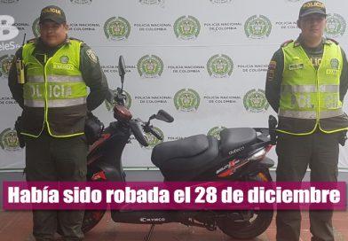 Autoridades recuperaron motocicleta que había sido hurtada