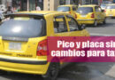 El pico y placa para taxis continúa rigiendo sin modificaciones